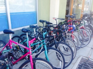 We try to have 13 used bikes on the sidewalk by the beginning of every weekend, so there is a variety of sizes, styles, and prices for you to choose from.